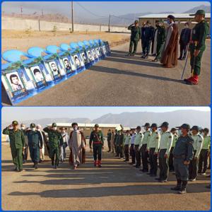صبحگاه مشترک نیروهای نظامی و انتظامی بهمئی به مناسبت آغاز هفته دفاع مقدس